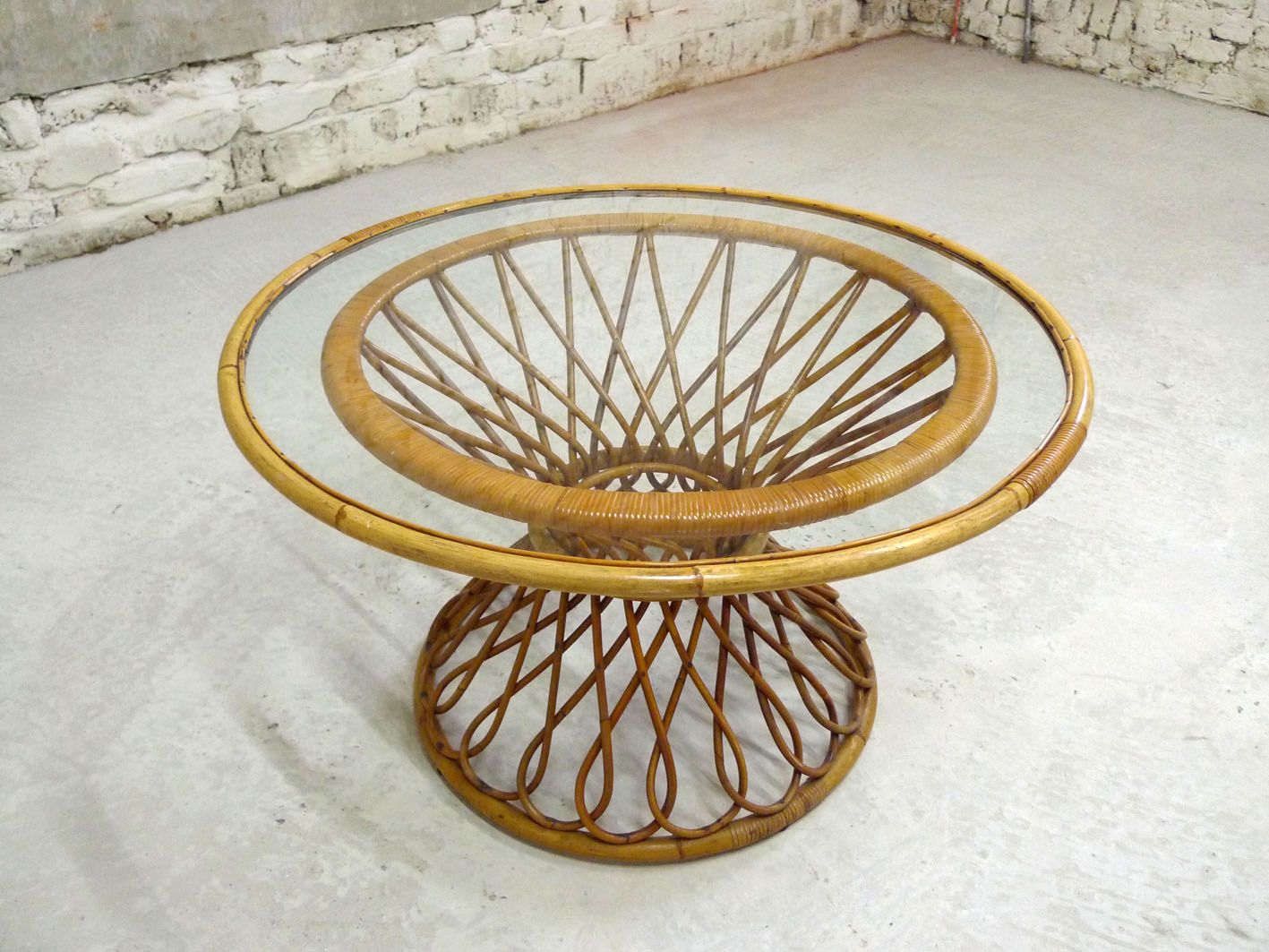 French Vintage GlassRattan Coffee Table for sale at Pamono