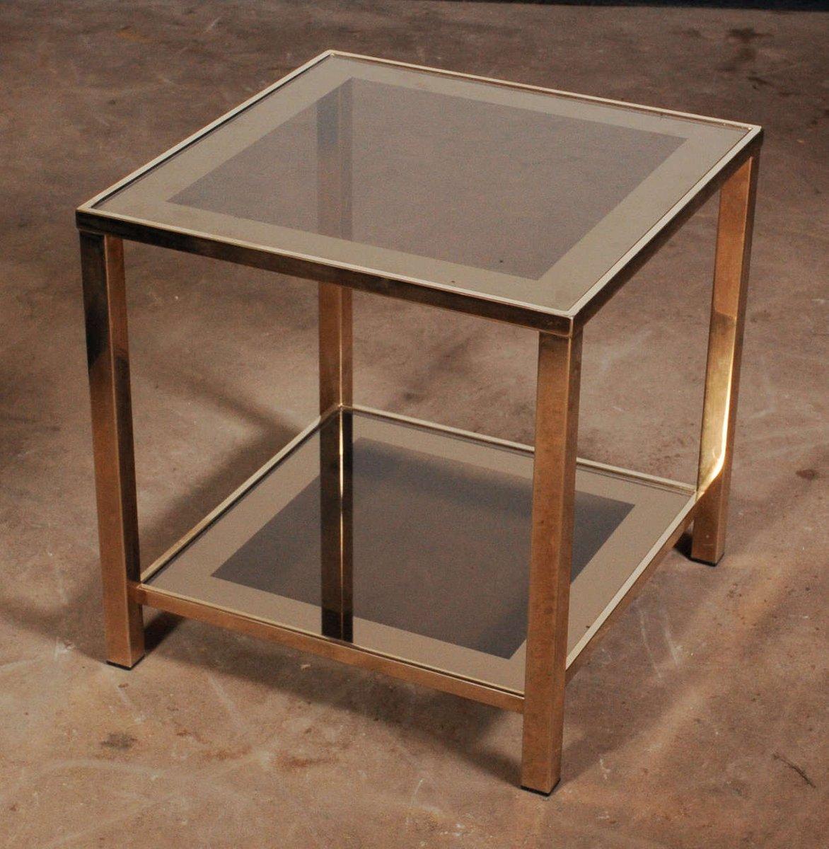 viereckiger vergoldeter beistelltisch mit ablage 1960er bei pamono kaufen. Black Bedroom Furniture Sets. Home Design Ideas