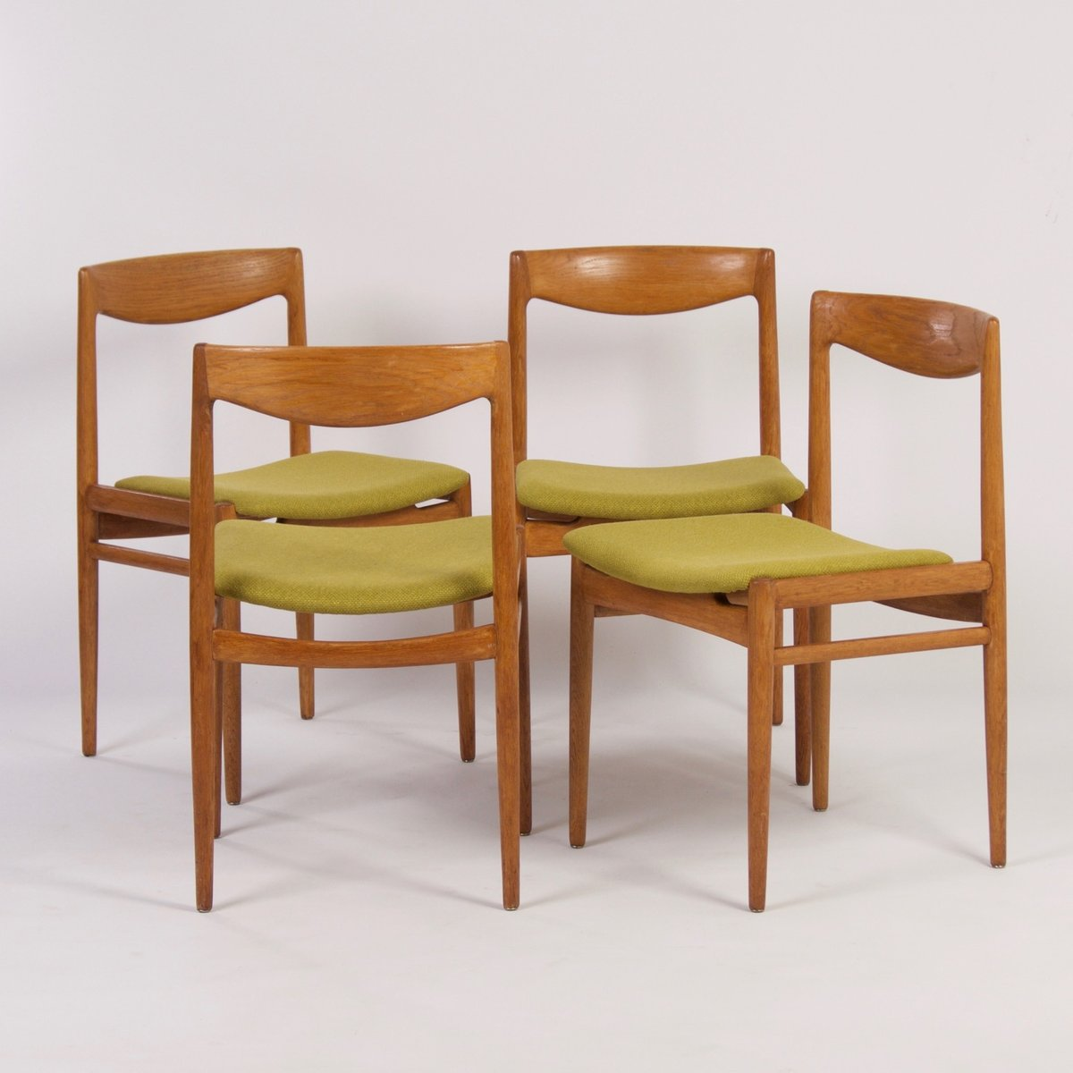 Danish Dining Chair green danish dining chairs, 1960s, set of 4 for sale at pamono