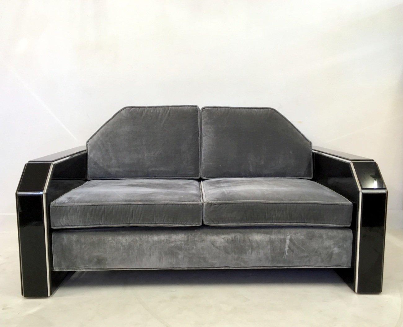 Amerikanisches Vintage Plexiglas Samt Sofa Und Couchtisch Bei Pamono Kaufen