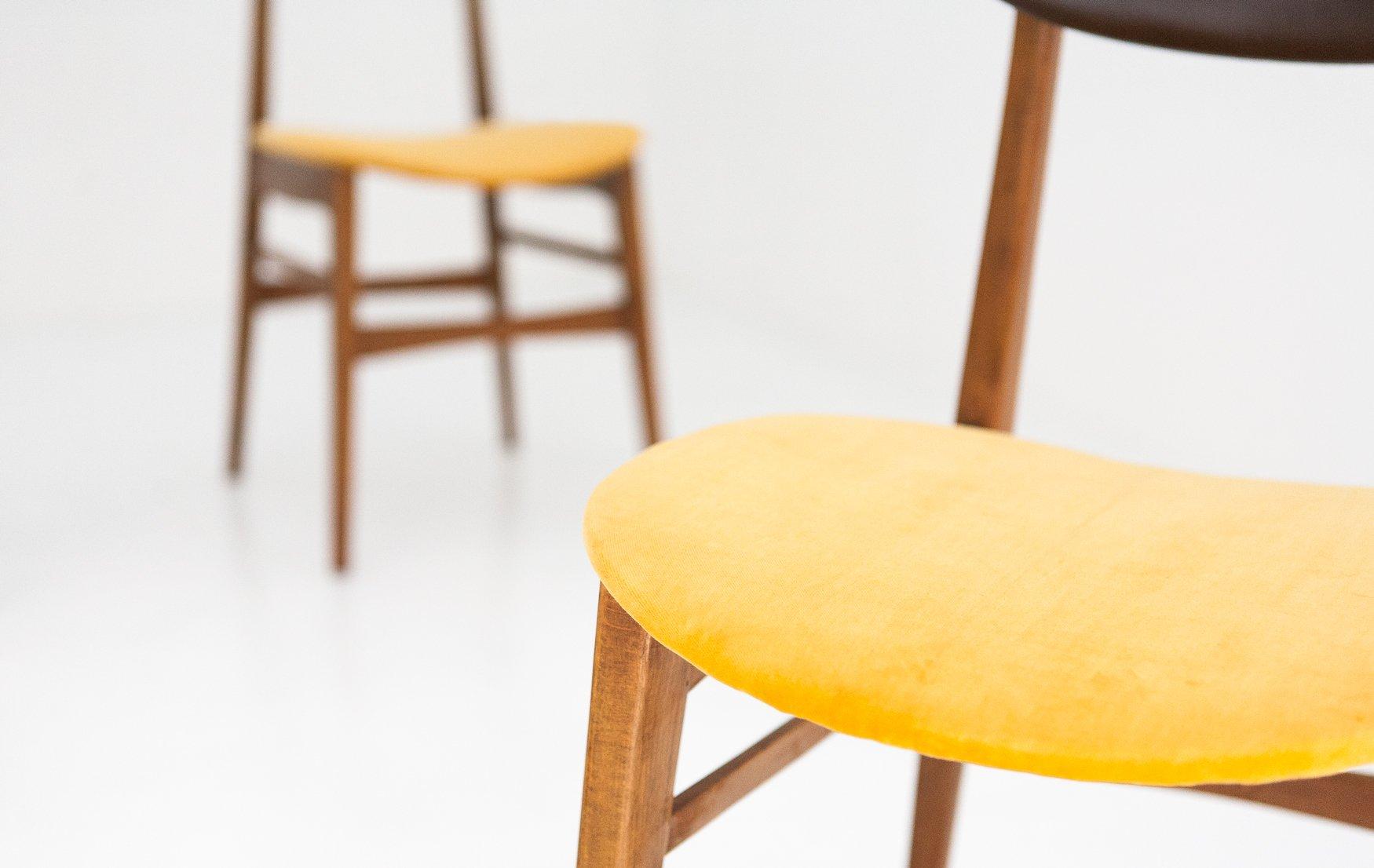 Mid Century Swedish Skai & Velvet Chairs 1950s Set of 4 for sale