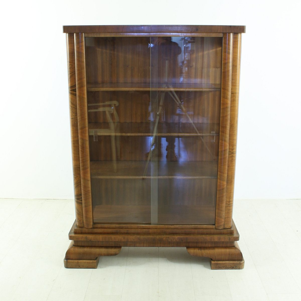 Vintage Art Deco Walnut Display Cabinet for sale at Pamono