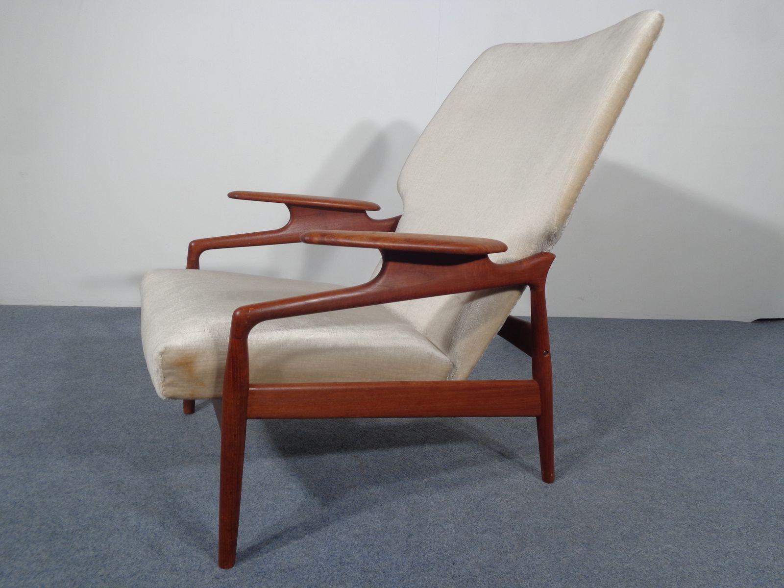 Vintage Danish Adjustable Teak Lounge Chair for sale at Pamono