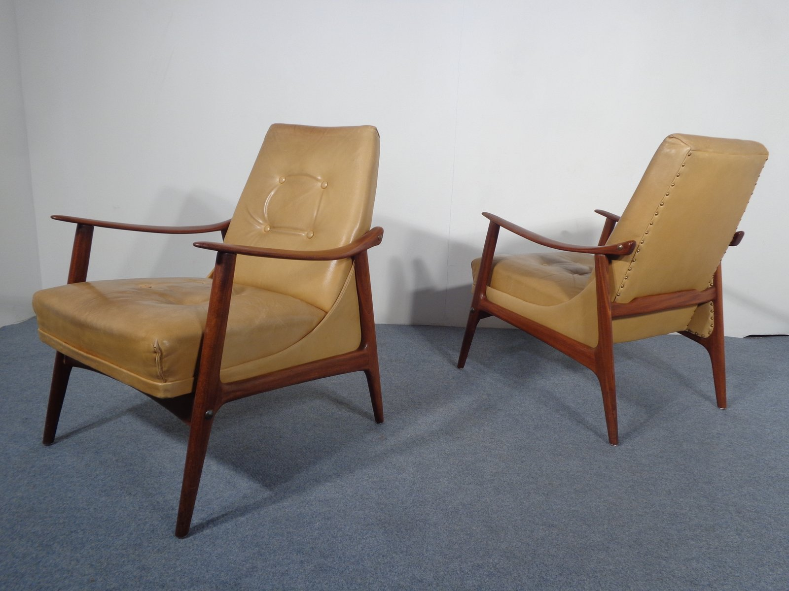 Vintage Danish Teak & Leather Lounge Chair for sale at Pamono