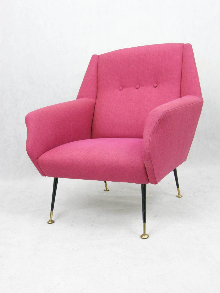 italienischer mid century sessel in pink 1950er bei. Black Bedroom Furniture Sets. Home Design Ideas