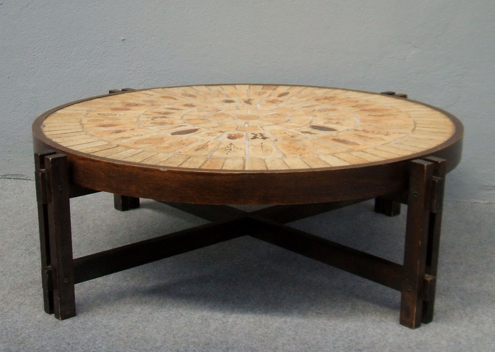 Round Coffee Table by Roger Capron 1970s for sale at Pamono