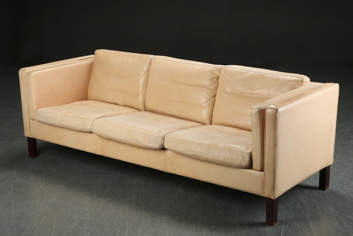Vintage danish long cream leather sofa for sale at pamono for Long couches for sale