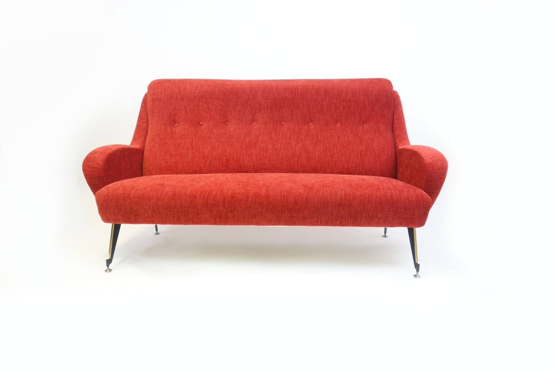 Italian Red Velvet Three Seater Sofa 1960s for sale at Pamono