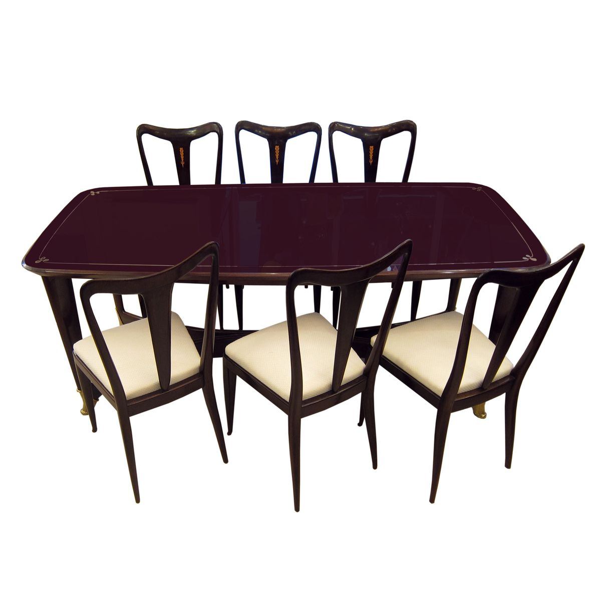 chaises de salle manger et table vintage par guglielmo ulrich set de 6 en vente sur pamono. Black Bedroom Furniture Sets. Home Design Ideas