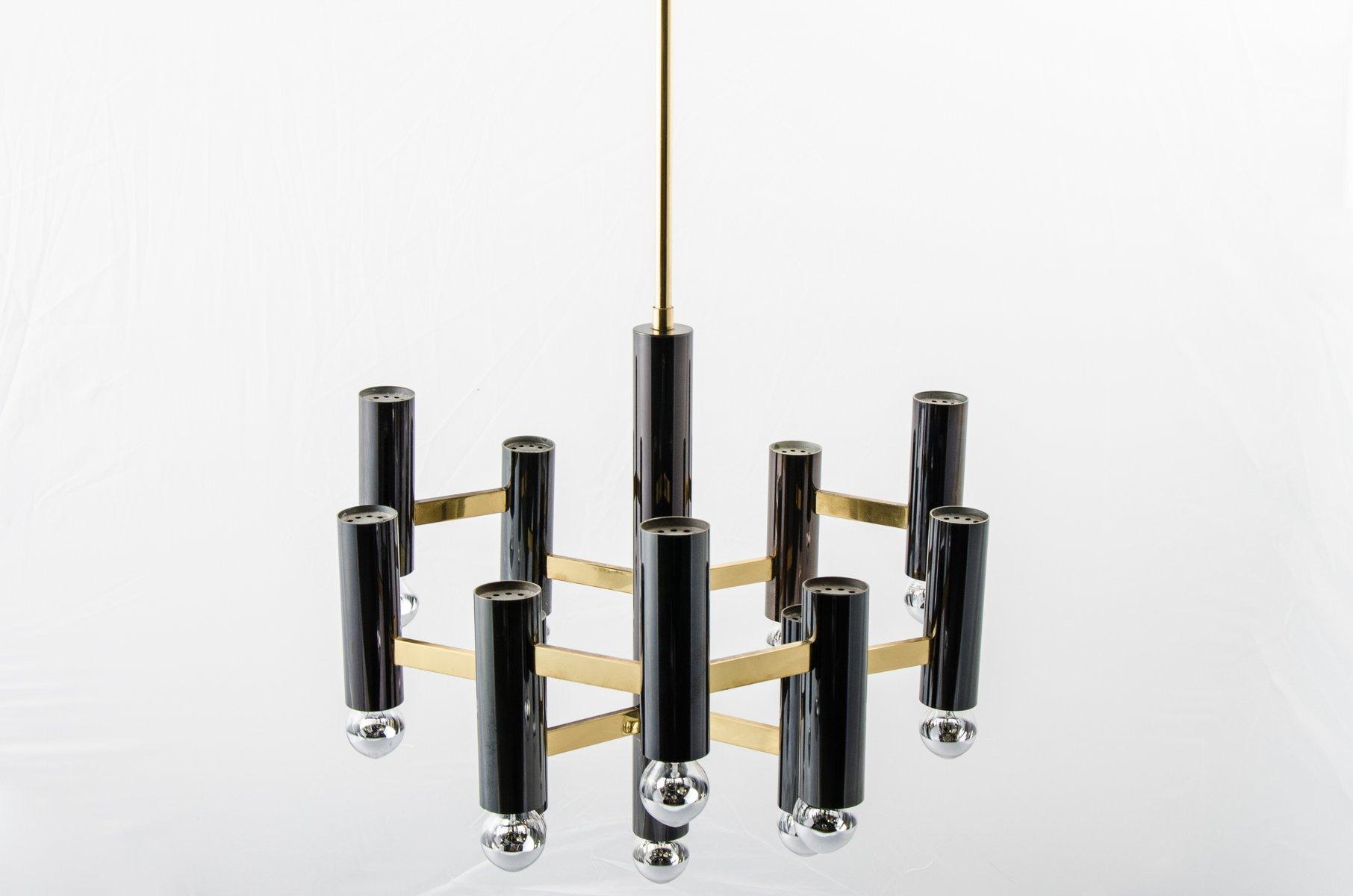 geometrischer vintage kronleuchter aus messing schwarzem metall von gaetano sciolari f r sa. Black Bedroom Furniture Sets. Home Design Ideas
