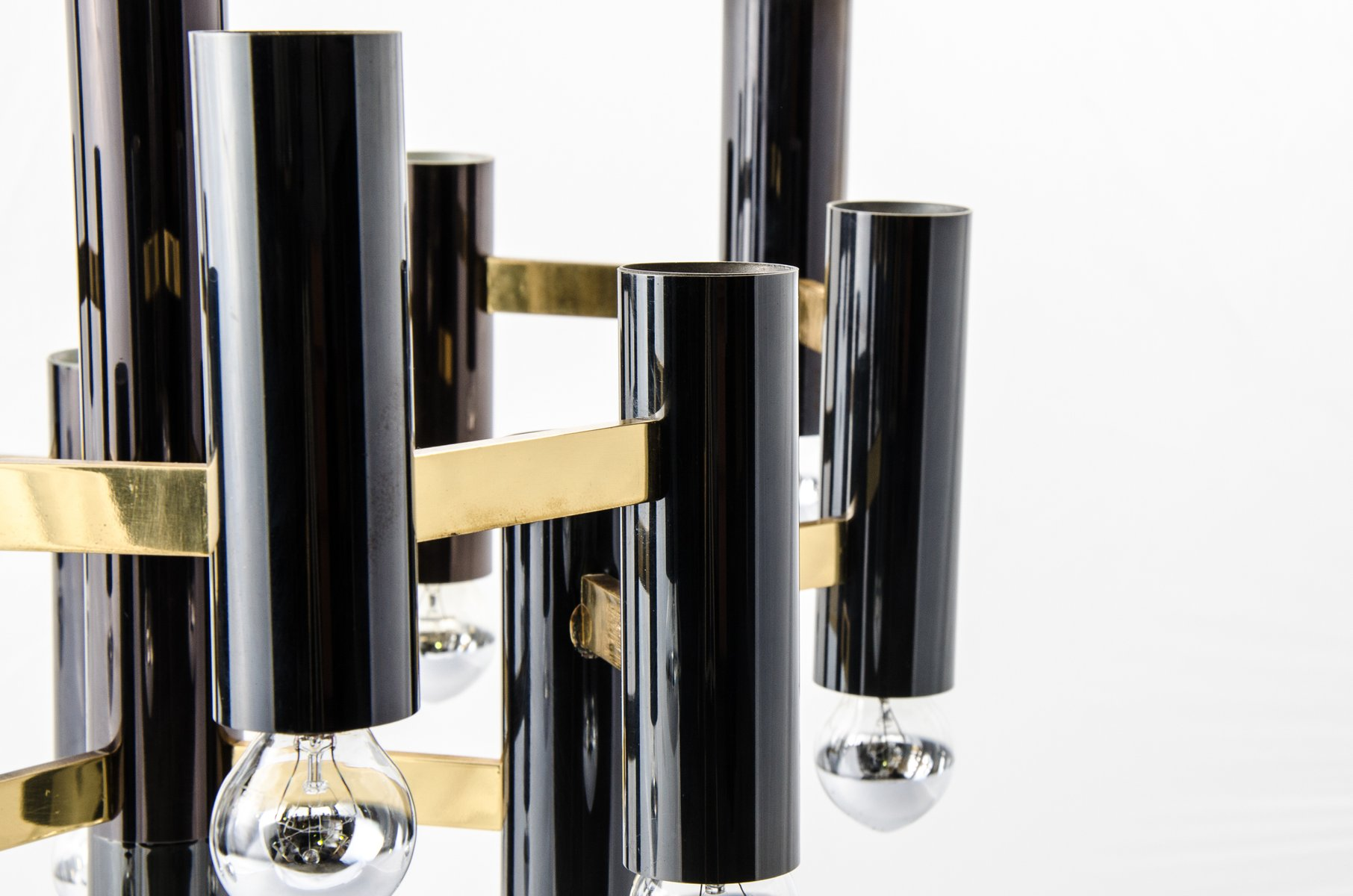 Vintage geometric brass black metal chandelier by for Lustre metal noir