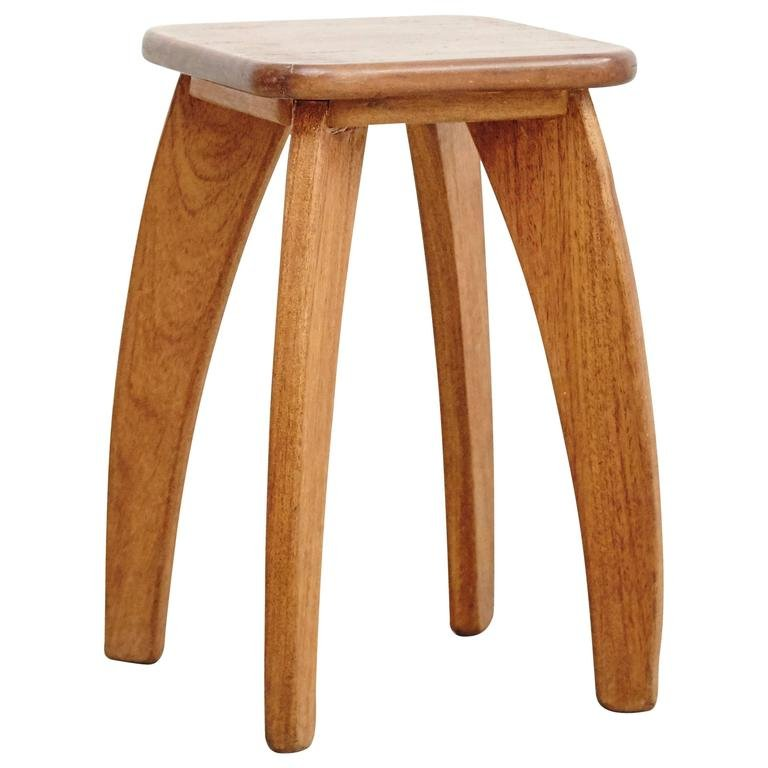 4 Legged Stool ~ French four legged wooden stool s for sale at pamono