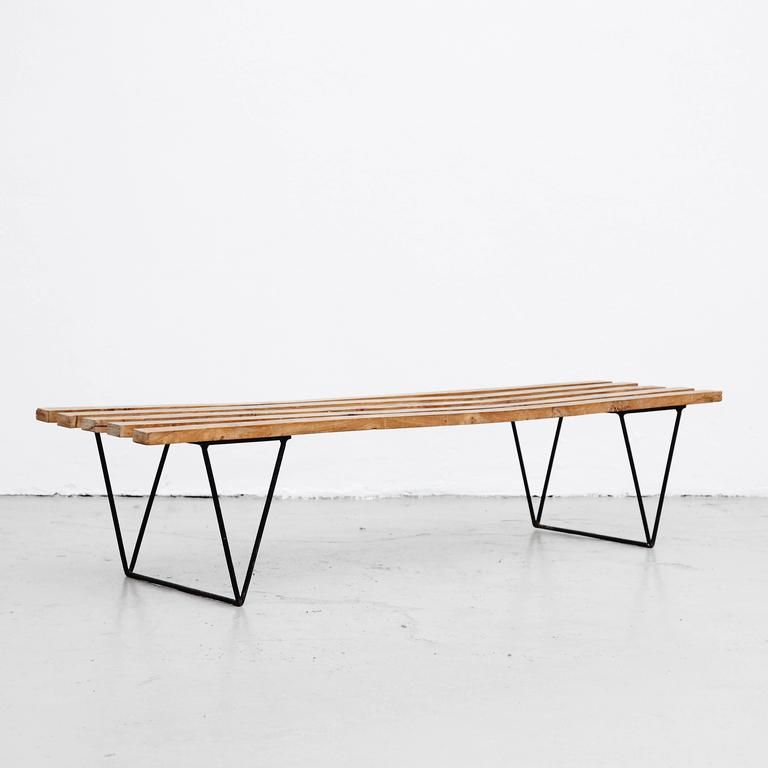 Wood Metal Bench By Robin Day 1950s For Sale At Pamono