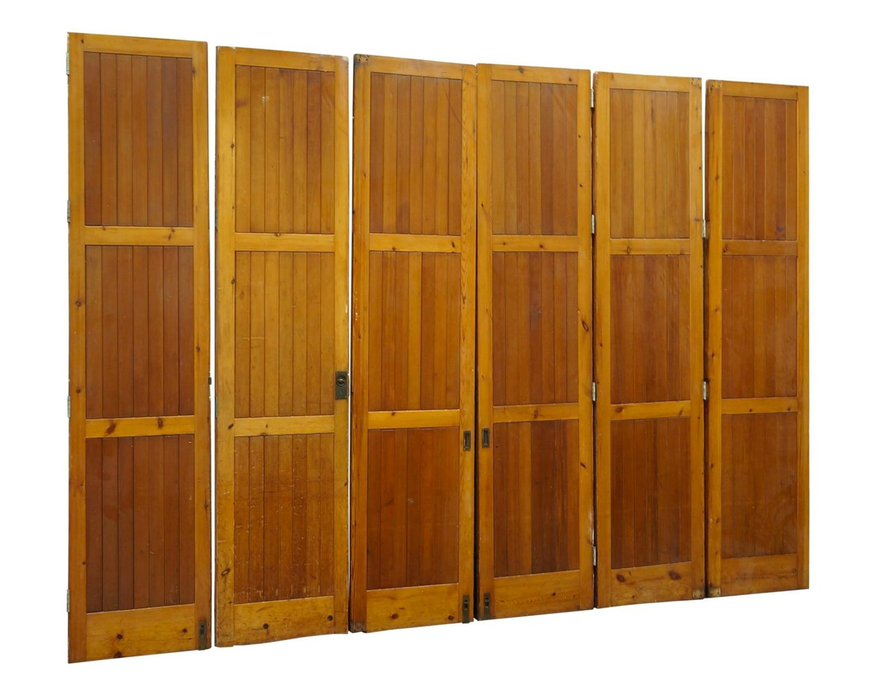 Vintage architectural oregon pine room divider bi folding for Folding doors