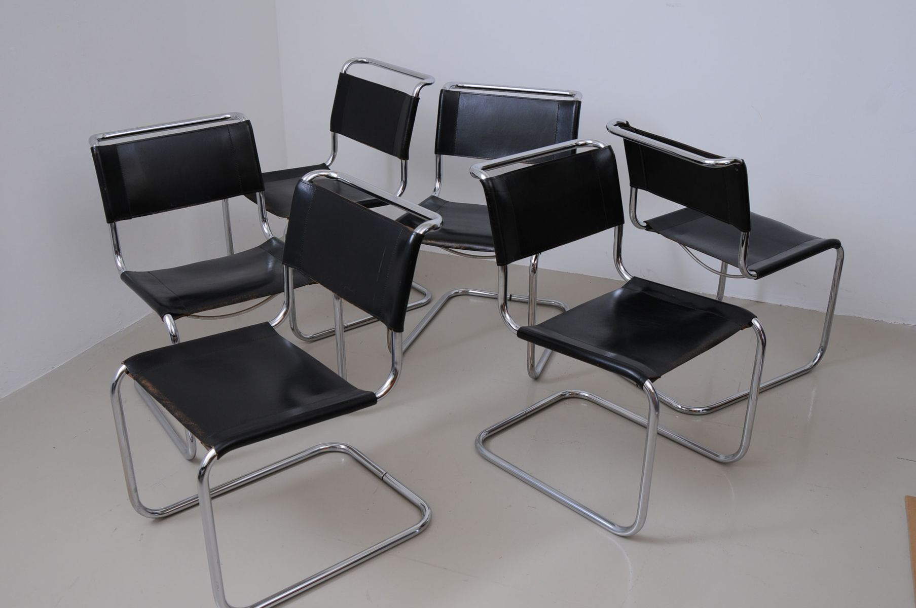 vintage s33 dining chairs by mart stam for thonet set of 6 for sale at pamono. Black Bedroom Furniture Sets. Home Design Ideas