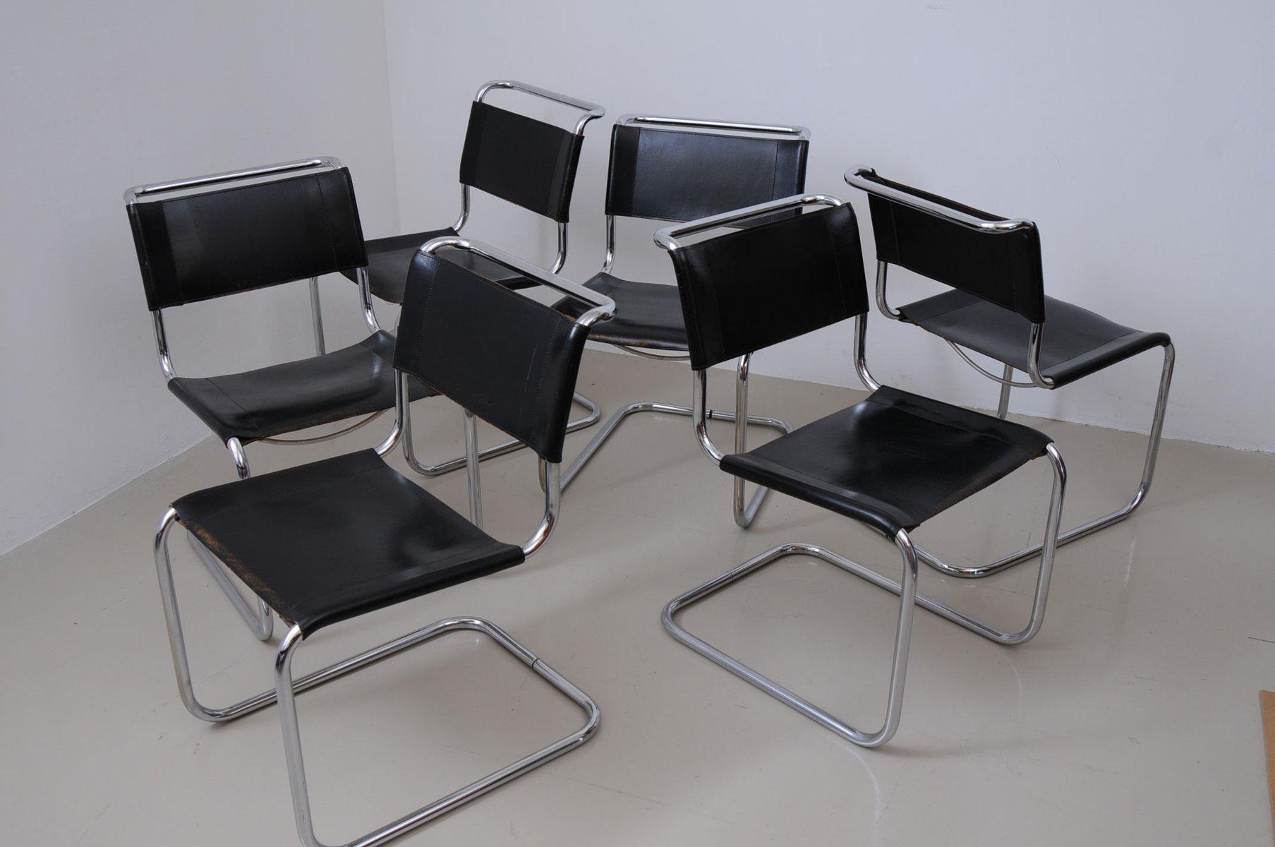 vintage s33 esszimmerst hle von mart stam f r thonet 6er. Black Bedroom Furniture Sets. Home Design Ideas