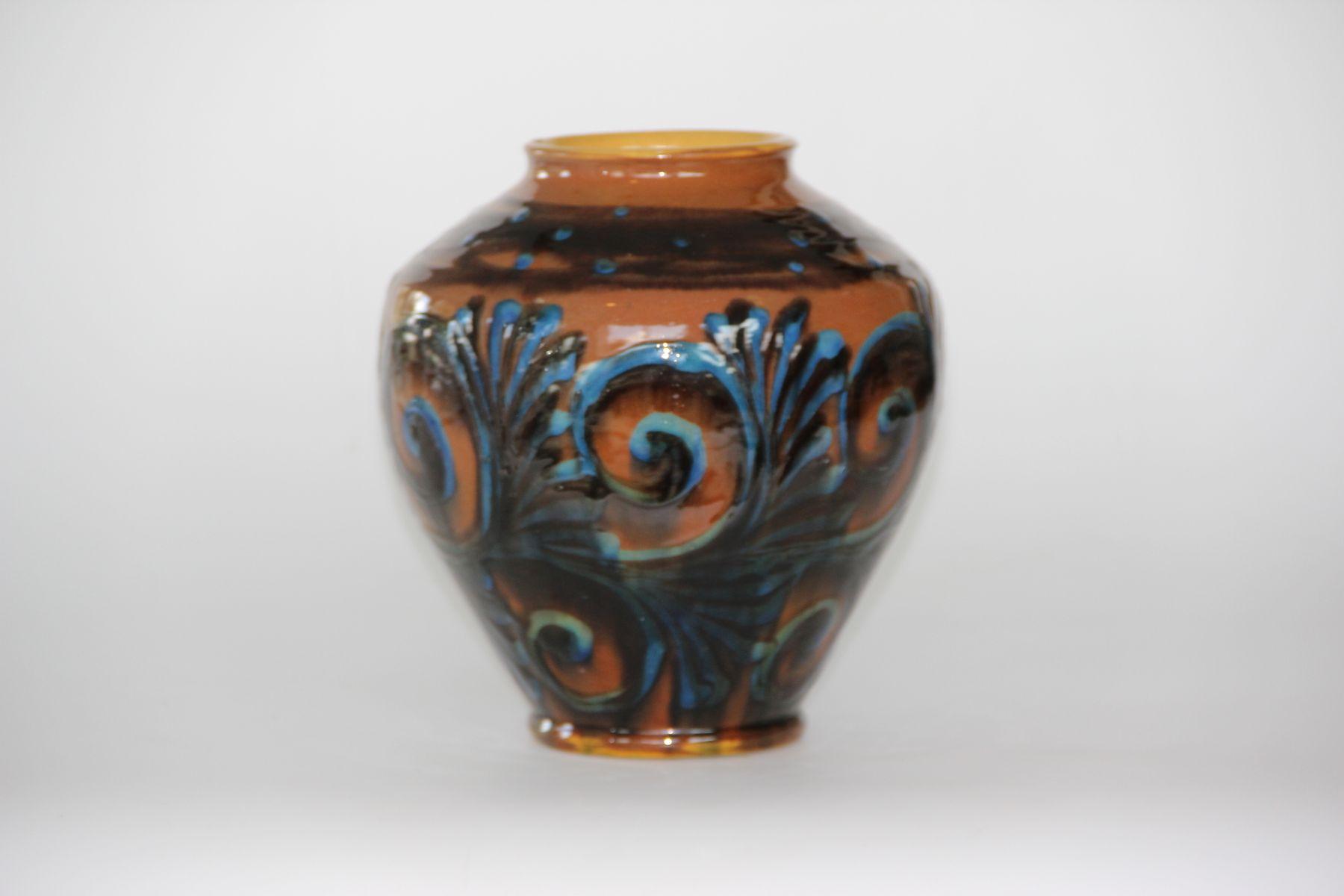 vintage brown blue ceramic vase from k hler for sale at pamono. Black Bedroom Furniture Sets. Home Design Ideas