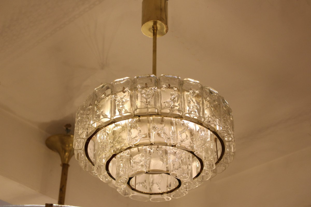 Brass glass chandelier from doria 1960s for sale at pamono brass glass chandelier from doria 1960s mozeypictures Images