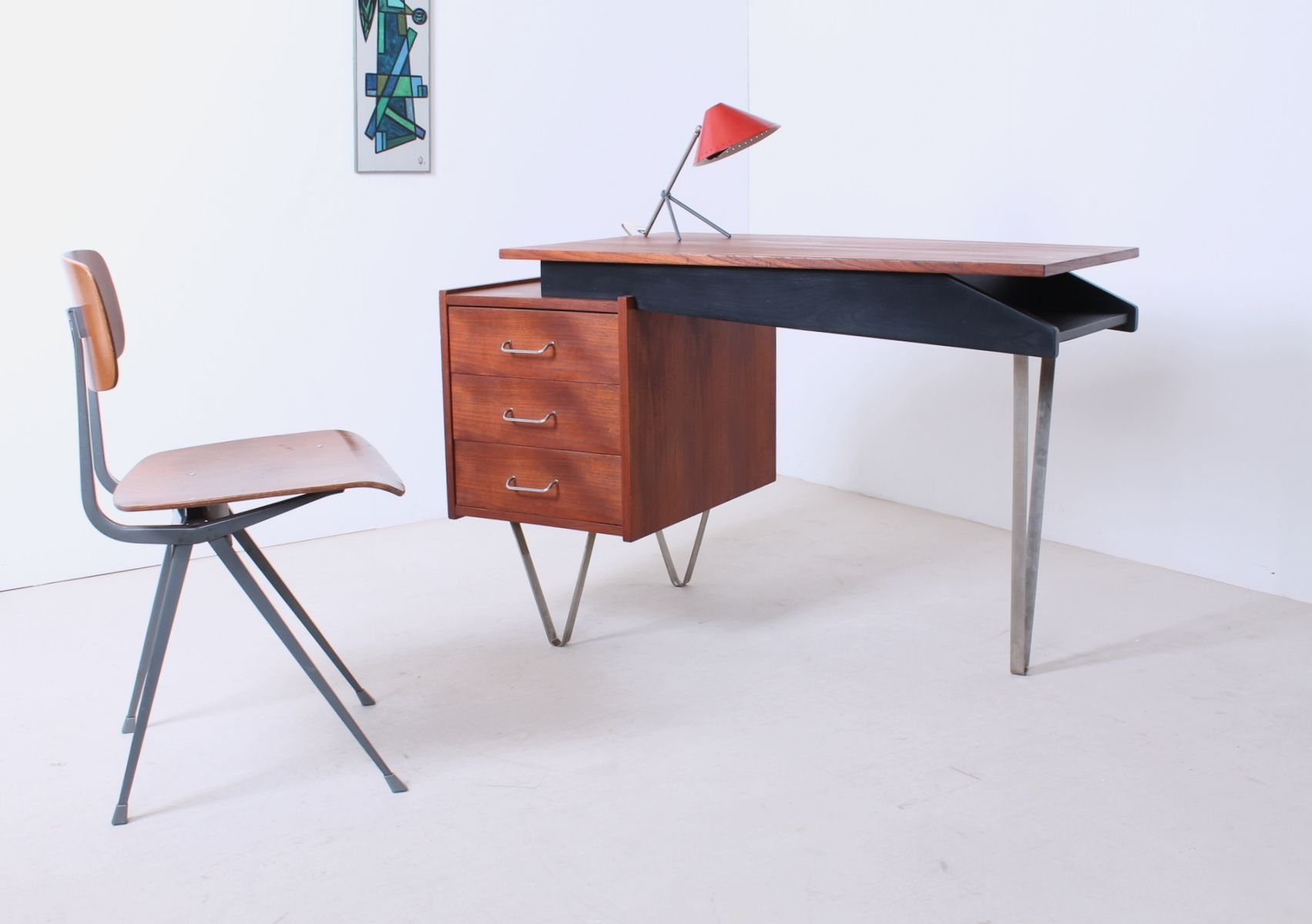 Teak Writing Desk with Hairpin Legs by Cees Braakman for Pastoe