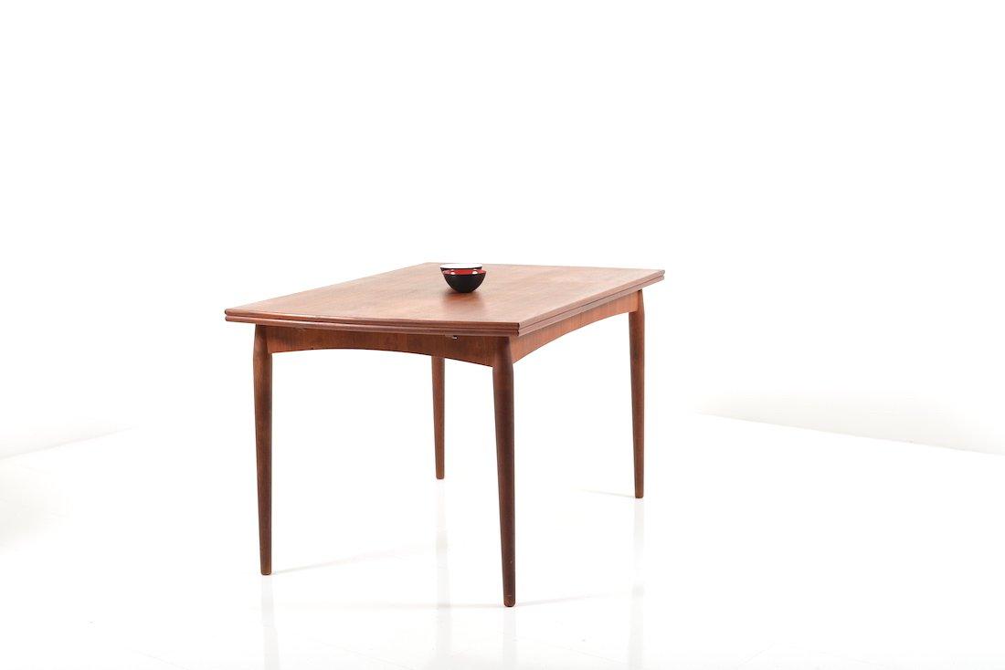 ausziehbarer d nischer teak esstisch 1950er bei pamono kaufen. Black Bedroom Furniture Sets. Home Design Ideas