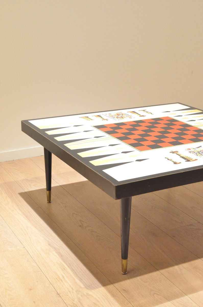 Mid century french chess backgammon game table for sale for 11 in 1 game table