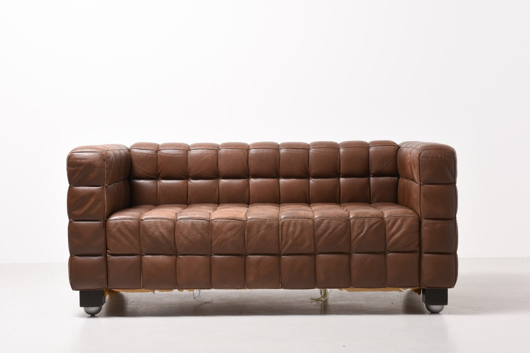 Elegant Kubus Brown Leather Sofa By Josef Hoffmann For Wittmann, 1910s For Sale At  Pamono