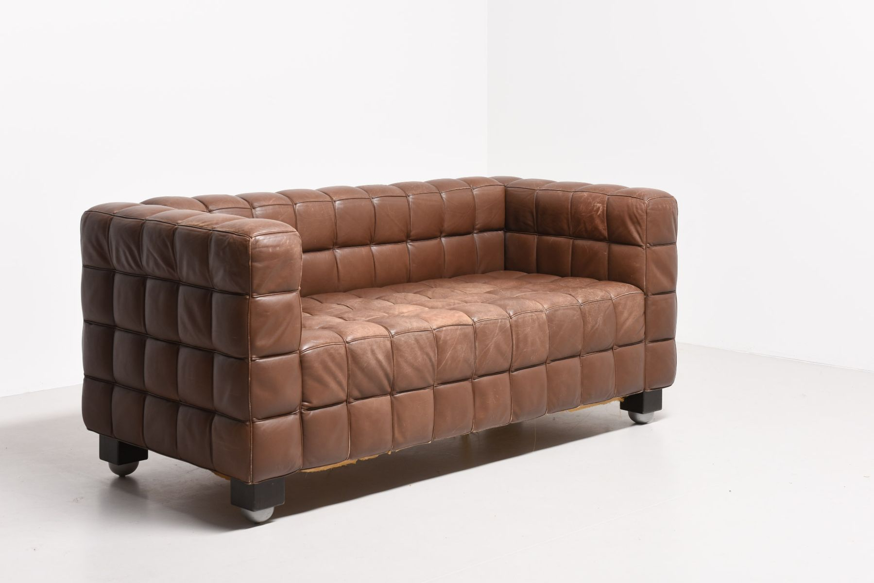 Kubus Brown Leather Sofa By Josef Hoffmann For Wittmann, 1910s For Sale At  Pamono