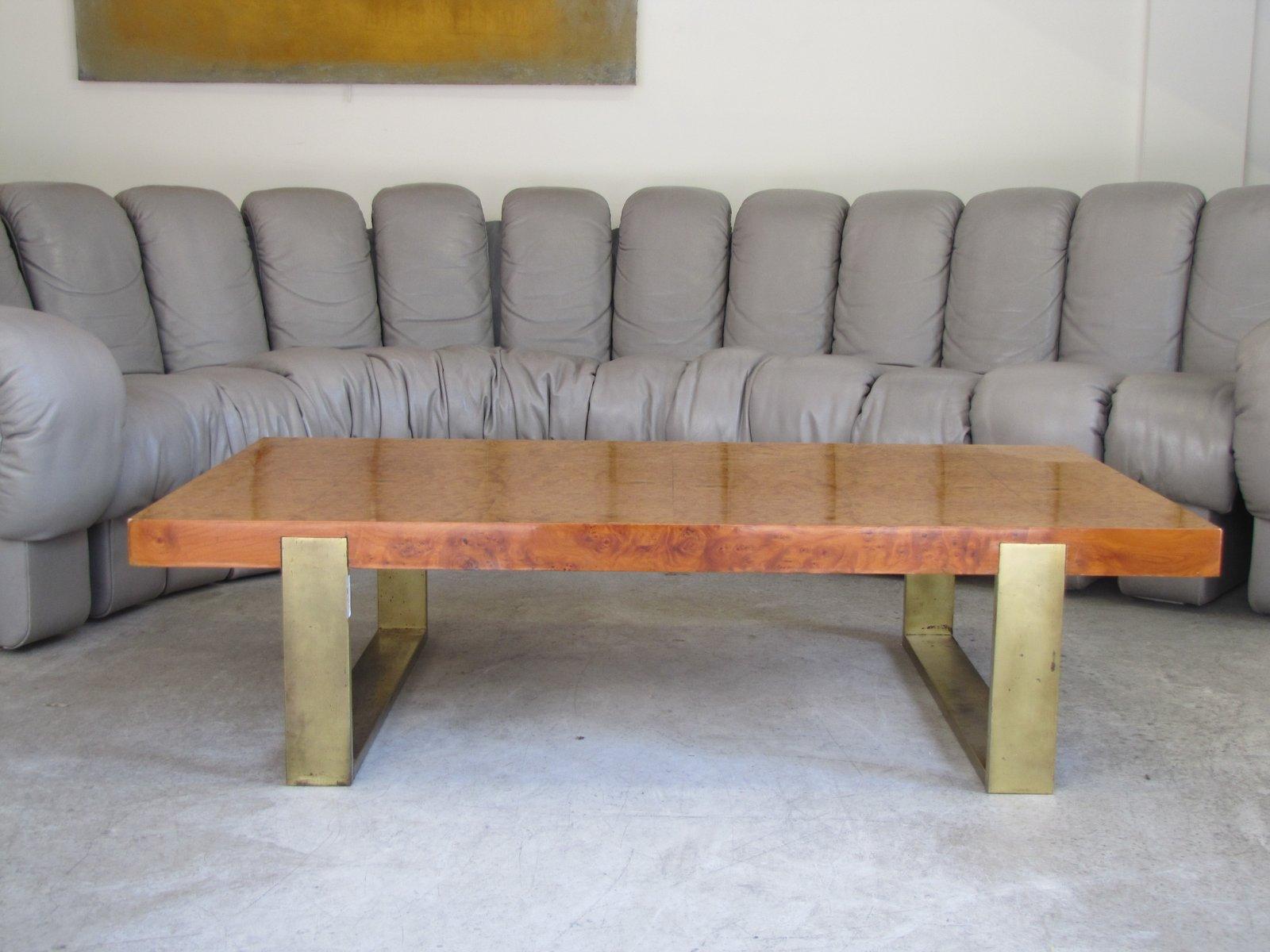 tisch aus ulmenholz vergoldetem metall 1970er bei pamono kaufen. Black Bedroom Furniture Sets. Home Design Ideas
