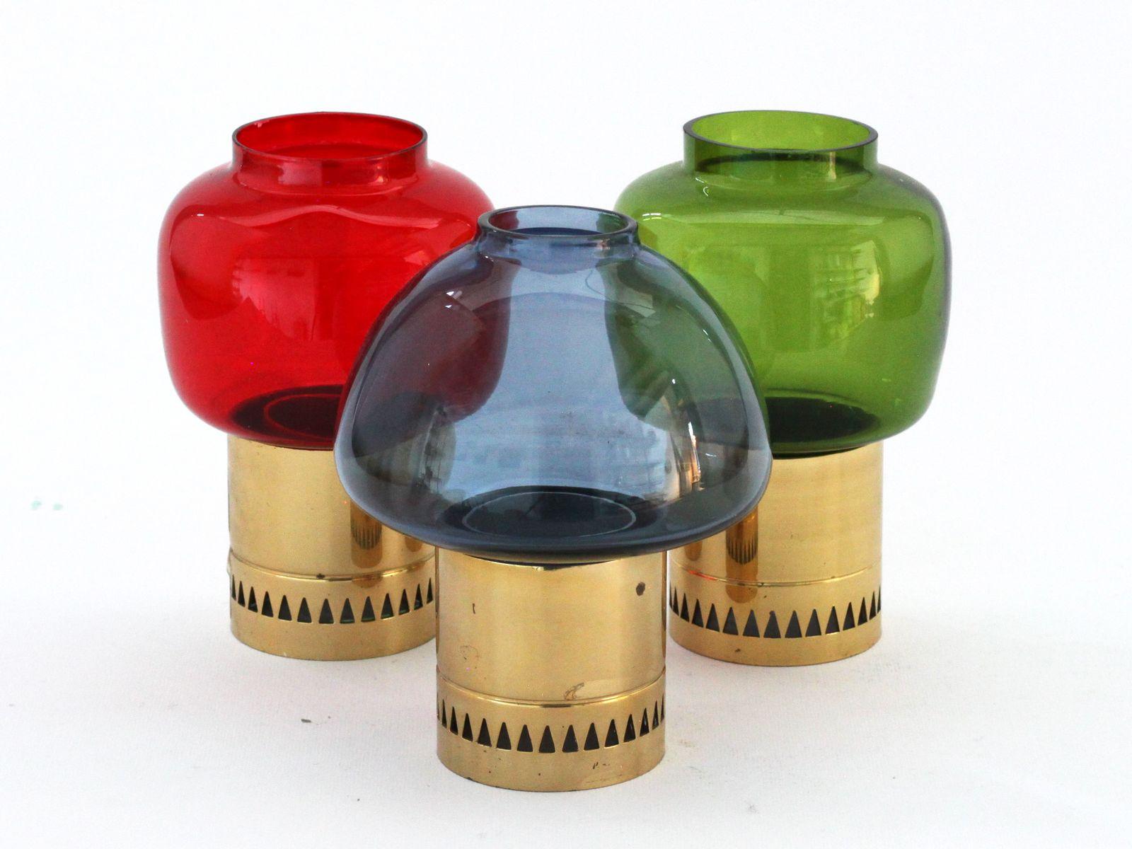 kerzenst nder aus messing farbigen glas von hans agne. Black Bedroom Furniture Sets. Home Design Ideas