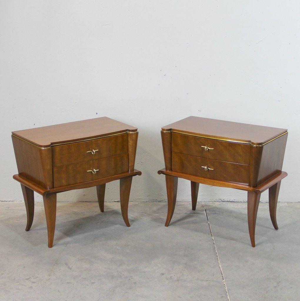 Tables de chevet vintage art d co france set de 2 en - Table de chevet art deco ...