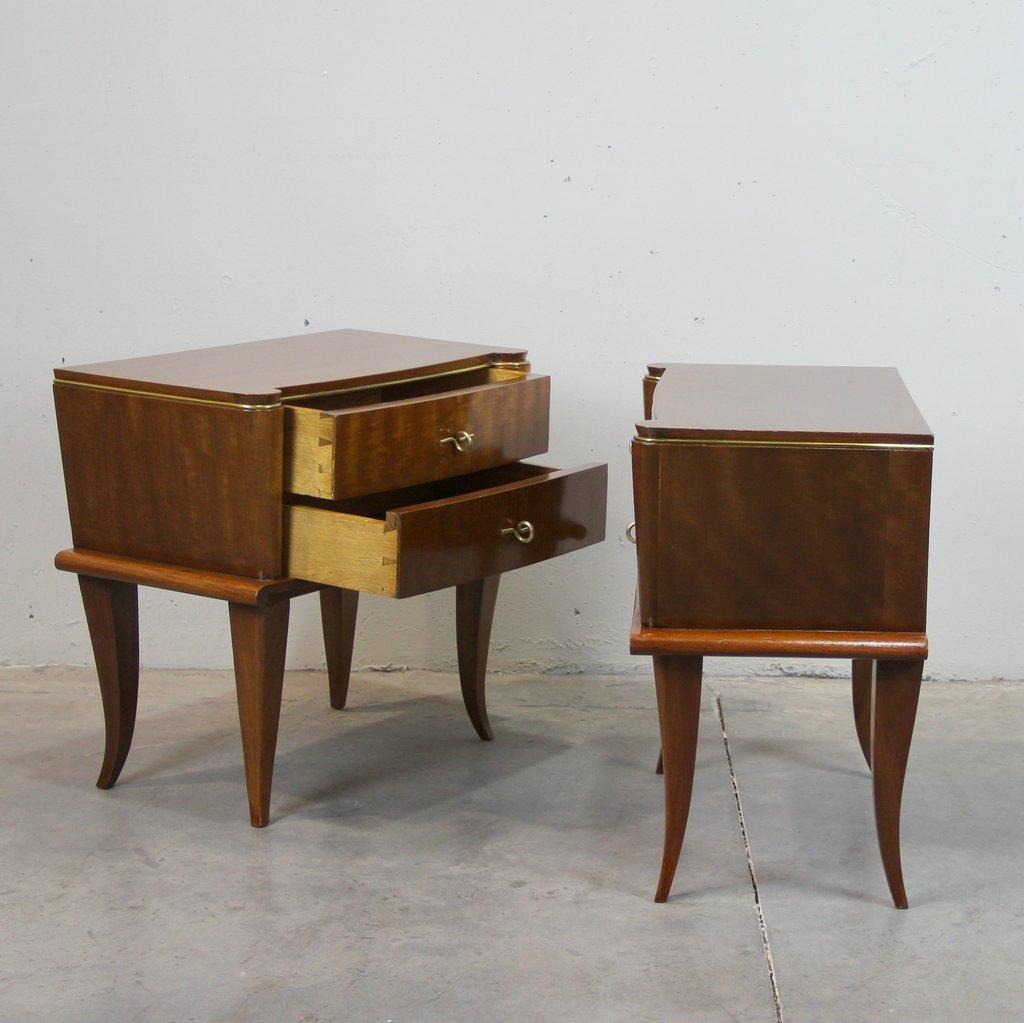 tables de chevet vintage art d co france set de 2 en vente sur pamono. Black Bedroom Furniture Sets. Home Design Ideas