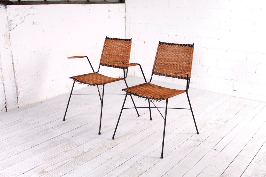 Italian Modern Stackable Wicker Chair With Armrests, 1960s