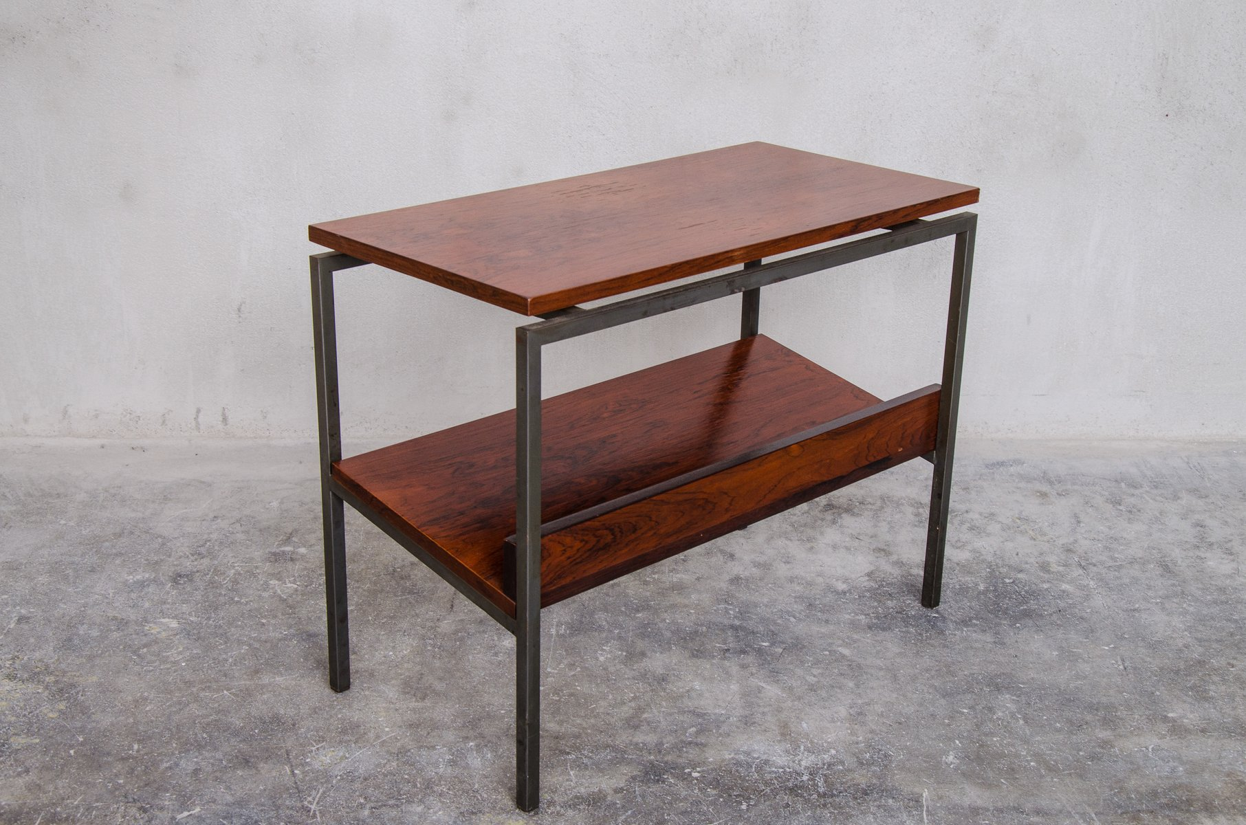 Danish Rosewood Side Table with Magazine Rack 1960s for sale at