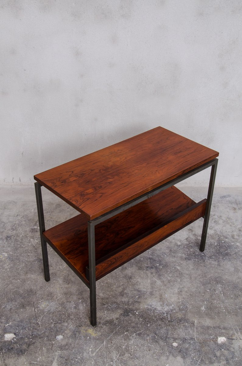 Antique square side table - Danish Rosewood Side Table With Magazine Rack 1960s