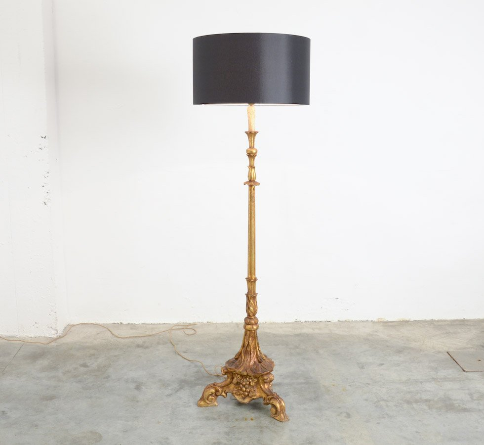 Vintage gold plated wooden floor lamp for sale at pamono vintage gold plated wooden floor lamp aloadofball Gallery