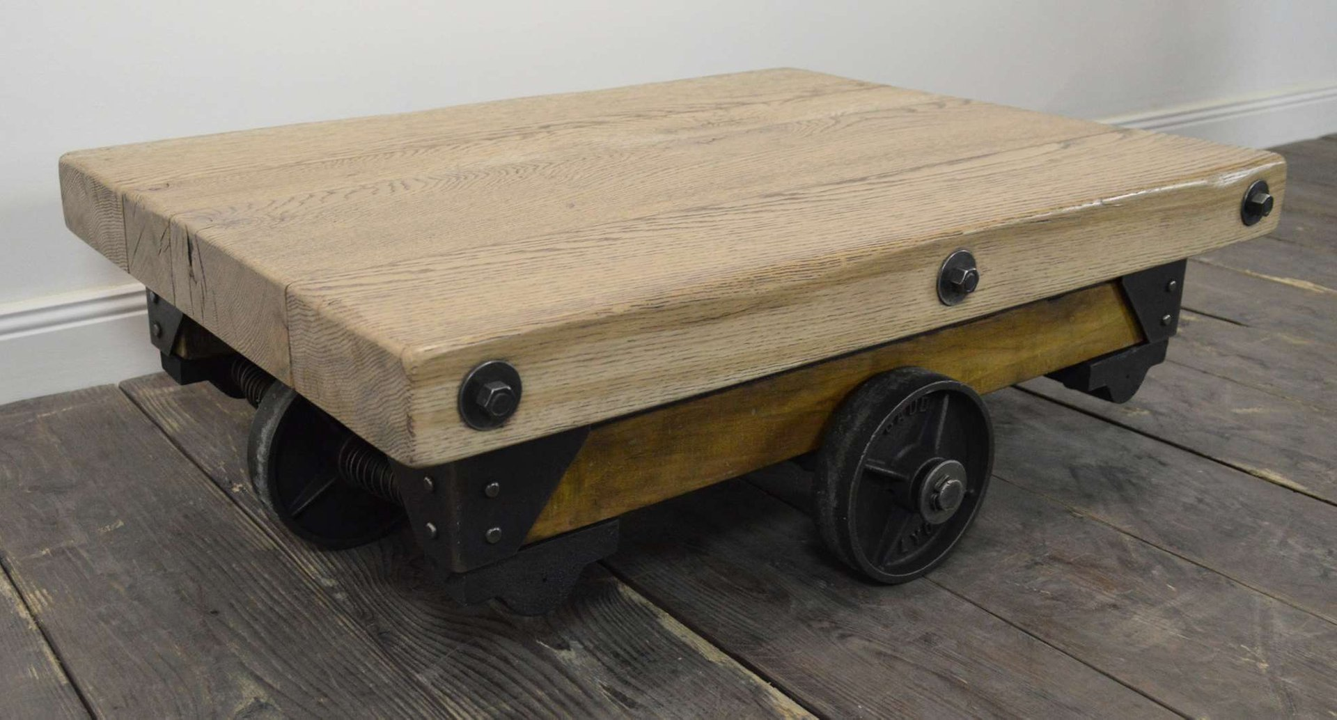 Vintage Riveted Industrial Wood And Metal Coffee Table