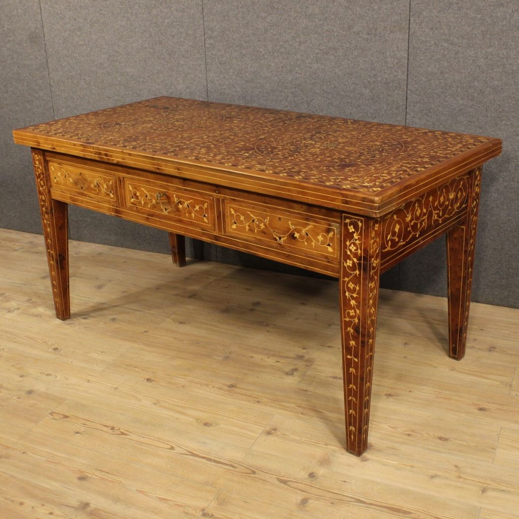french inlaid writing desk with mother of pearl 1950s