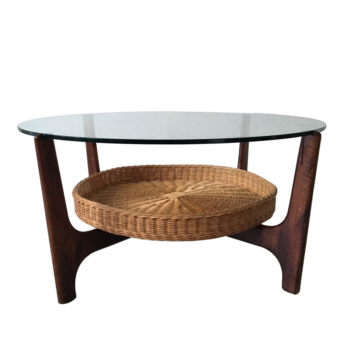 Danish Coffee Table with Rattan Magazine Rack, 1960s - Danish Coffee Table With Rattan Magazine Rack, 1960s For Sale At