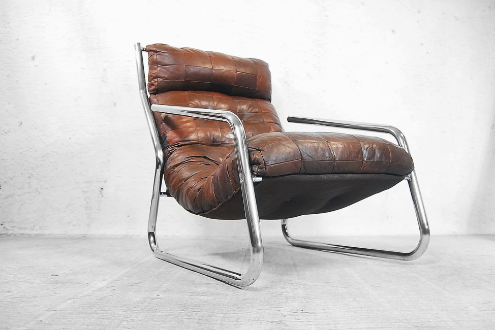 bauhaus leather chrome pendant lounge chair 1960s for sale at pamono. Black Bedroom Furniture Sets. Home Design Ideas