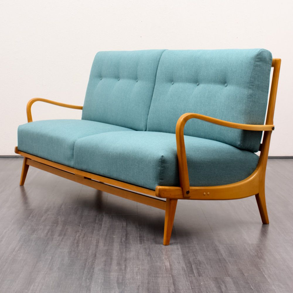 Turquoise Reupholstered Sofa 1950s For Sale At Pamono