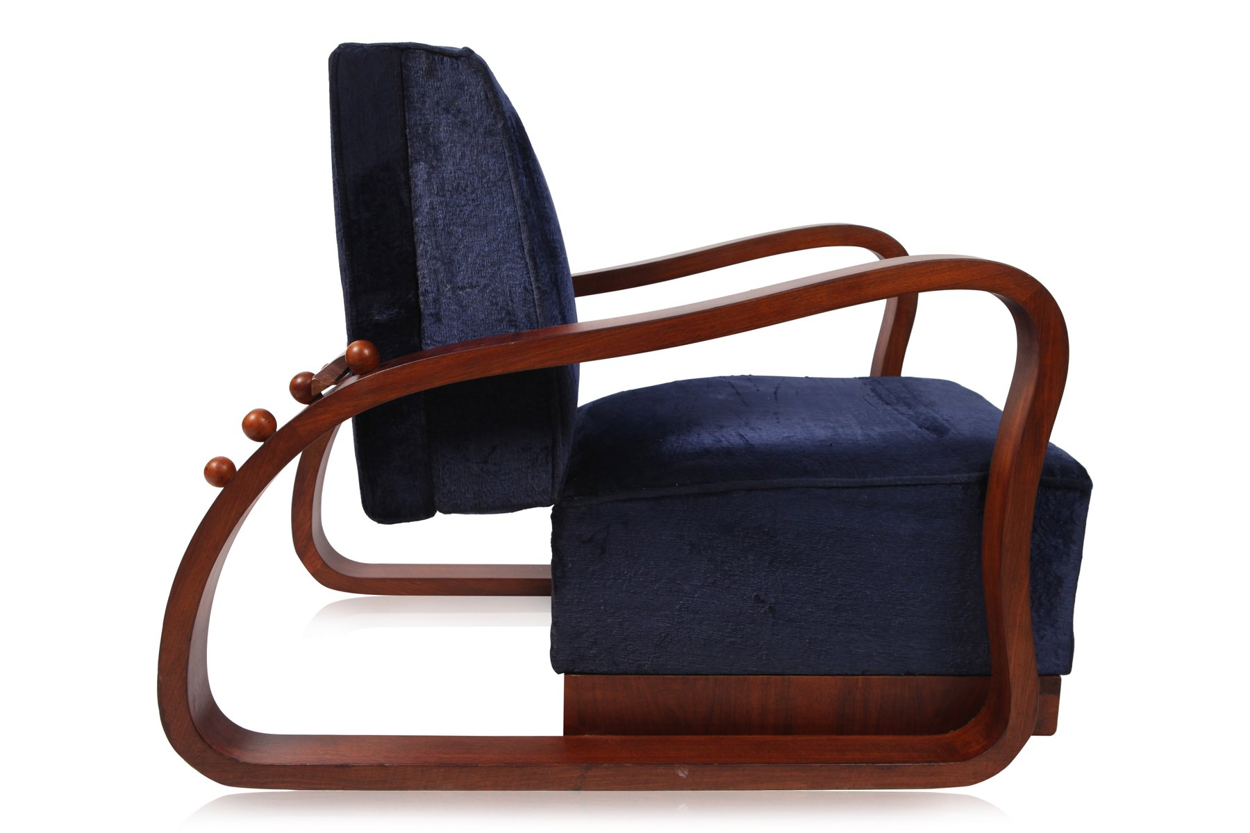Dark Blue Velvet Lounge Chairs 1930s Set of 2 for sale at Pamono