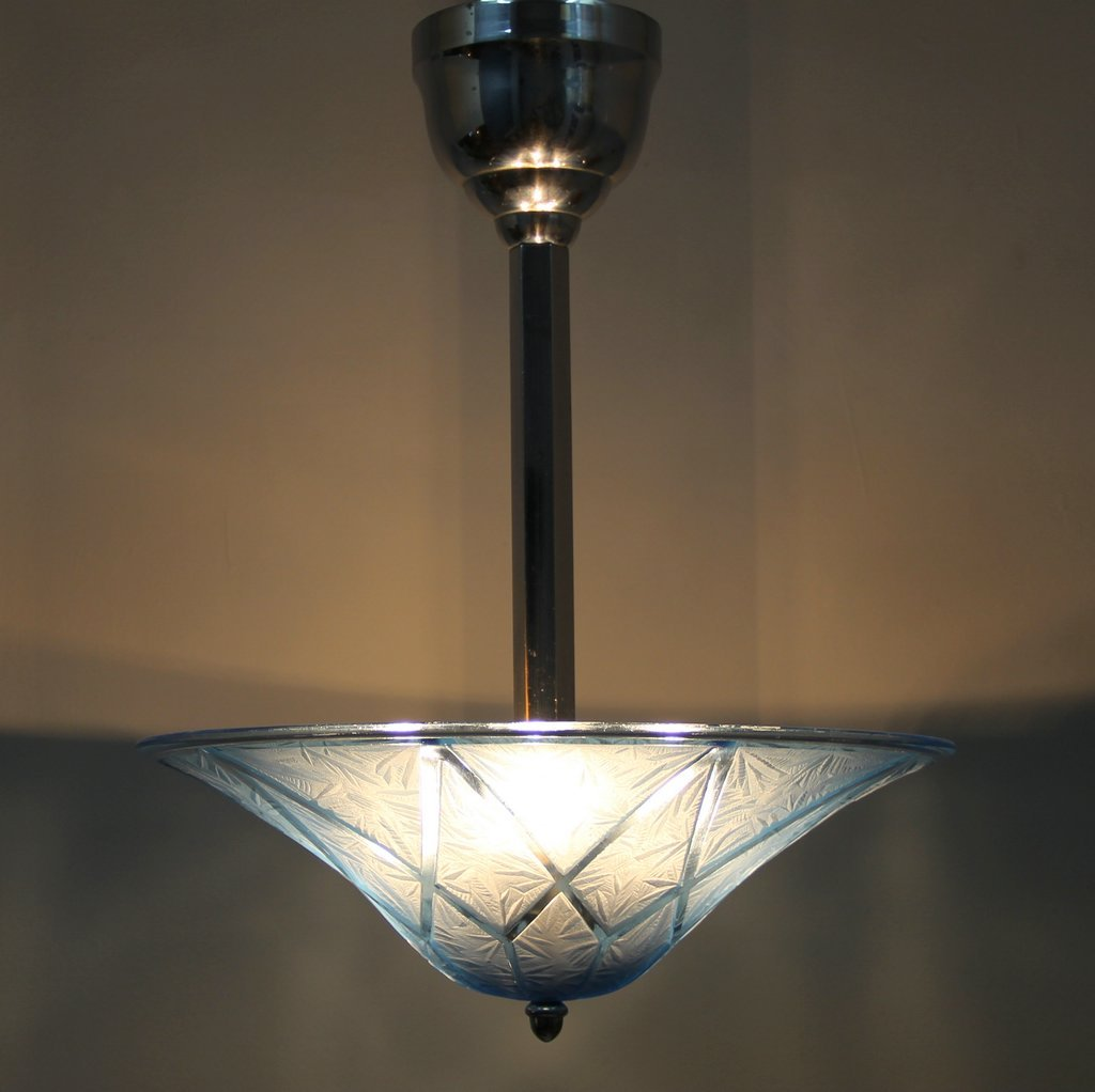 Art Deco French Blue Glass Ceiling Light for sale at Pamono