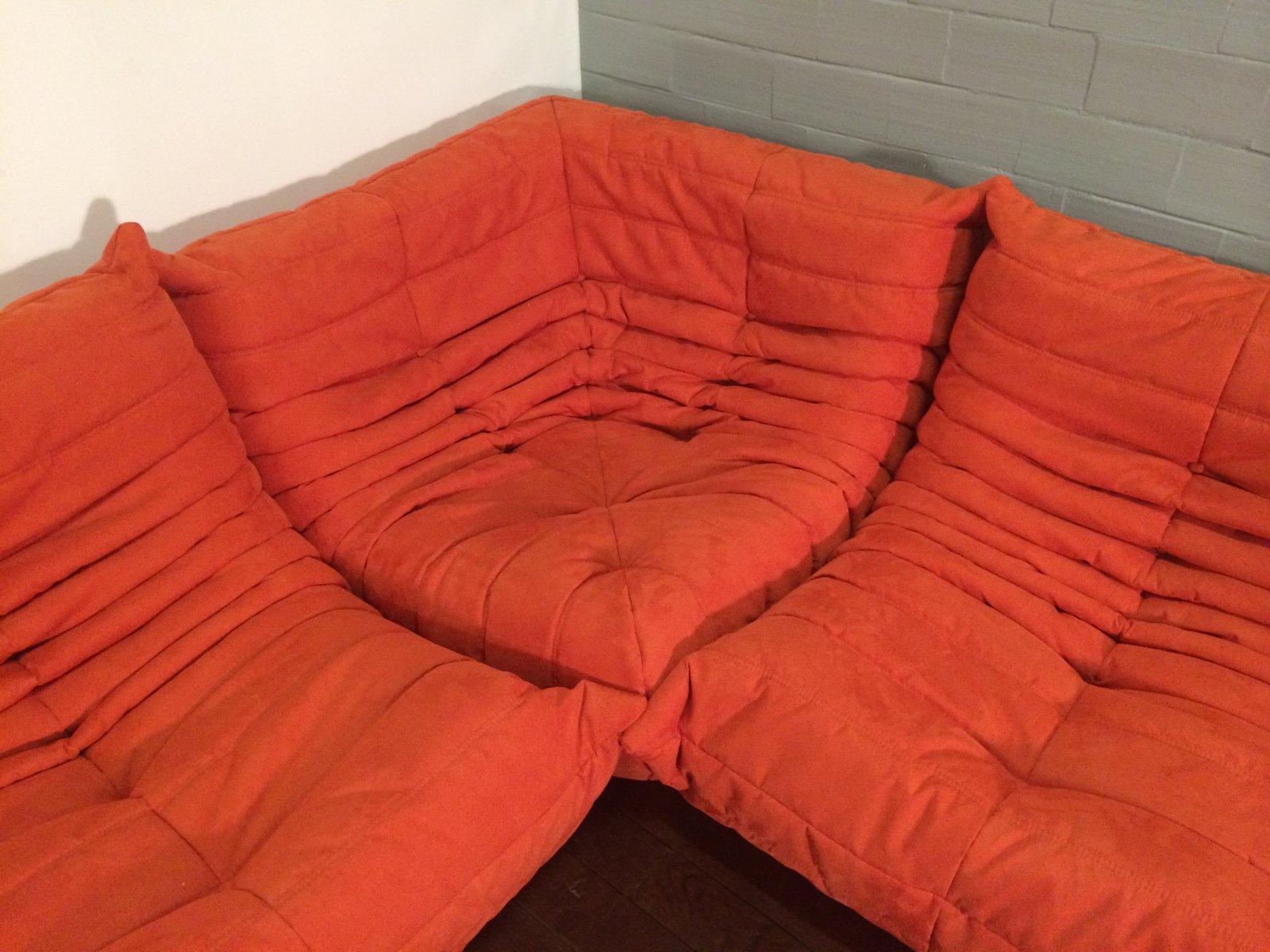 Orange Microfibre Togo Sofa Set by Michel Ducaroy for Ligne Roset