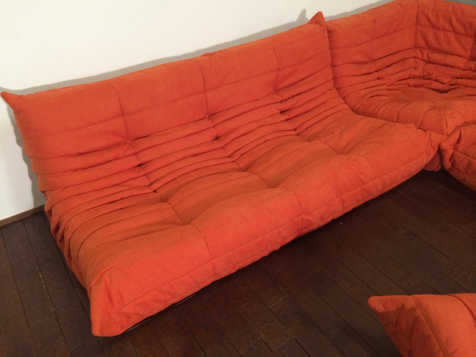 orange microfibre togo sofa set by michel ducaroy for ligne roset 1974 for sale at pamono. Black Bedroom Furniture Sets. Home Design Ideas