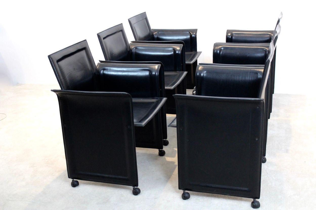Chaises de salle manger en cuir de matteo grassi 1970s set de 6 en vente sur pamono - Chaises de salle a manger en cuir ...