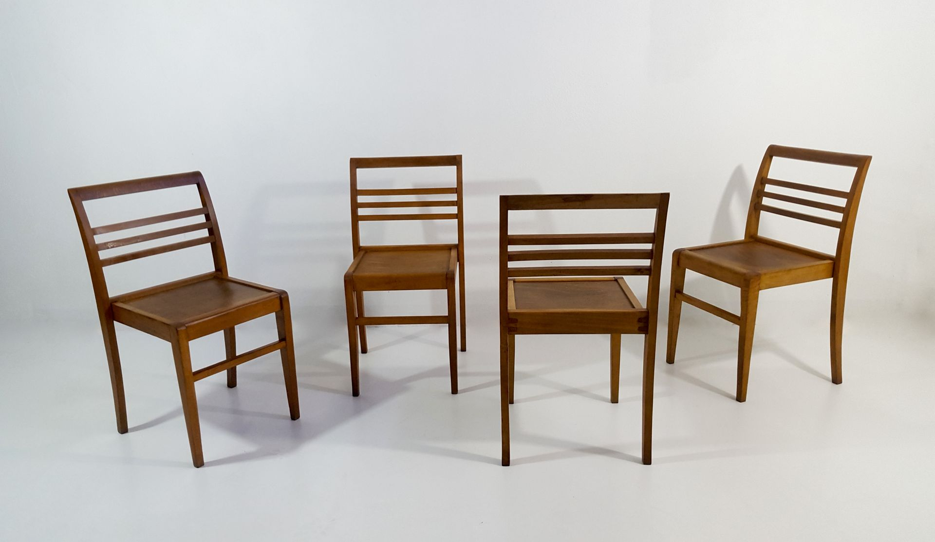 Beech Stacking Chairs by René Gabriel 1950s Set of 4 for sale at
