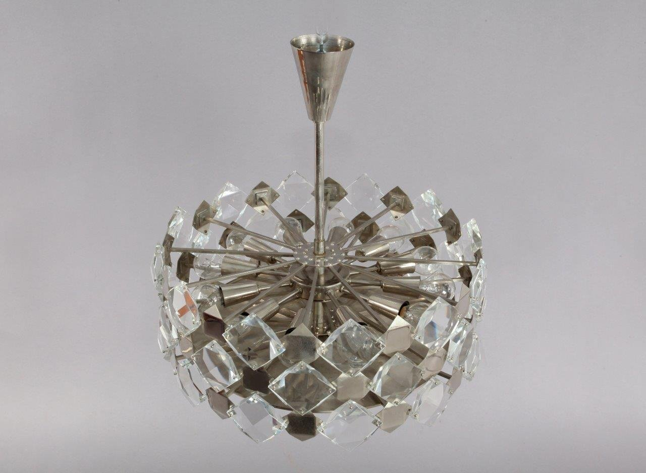 Faceted Crystal Glass Hanging Chandelier From Bakalowits And Shne 1960