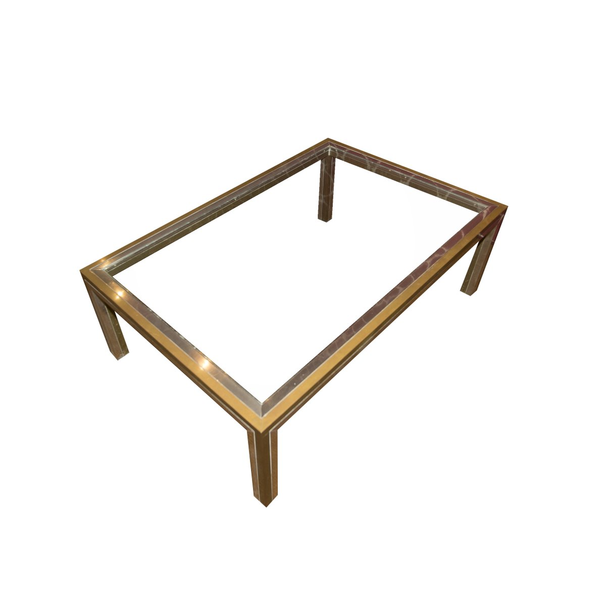 Vintage Chrome and Brass Coffee Table by Romeo Rega for sale at Pamono