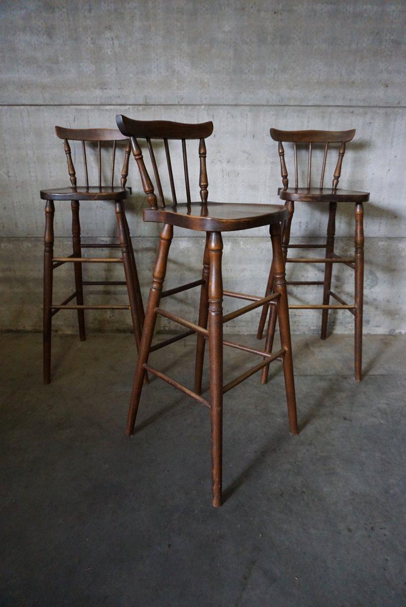 vintage belgian oak bar stools set of 3 for sale at pamono. Black Bedroom Furniture Sets. Home Design Ideas