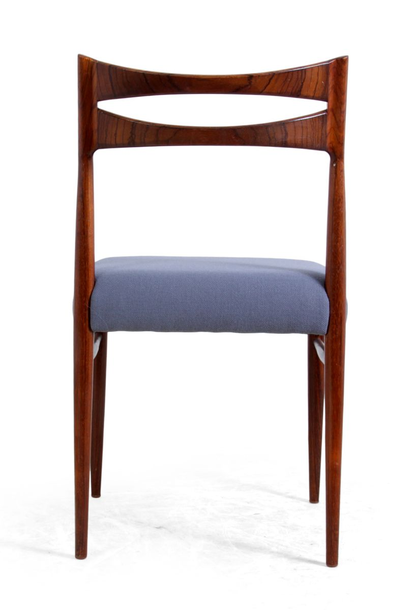Danish Rosewood Dining Chairs With Blue Seats 1950s Set Of 4 For Sale At Pa